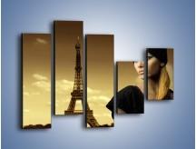 Obraz na płótnie – Czarna dama w paryżu – pięcioczęściowy L114W4