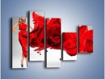 Obraz na płótnie – Czerwona róża i kobieta – pięcioczęściowy L144W4