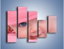 Obraz na płótnie – Bobas w różowej czapeczce – pięcioczęściowy L256W4
