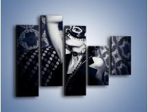 Obraz na płótnie – Czarno-biała dama – pięcioczęściowy L315W4