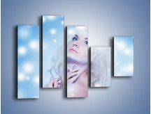 Obraz na płótnie – Biała dama i światełka – pięcioczęściowy L318W4