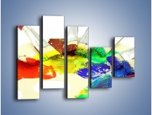 Obraz na płótnie – Kolory pędzlem malowane – pięcioczęściowy O046W4