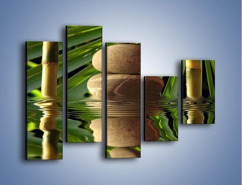 Obraz na płótnie – Kamień w bambusowym okienku – pięcioczęściowy O068W4