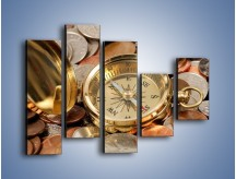 Obraz na płótnie – Kompas zatopiony w monetach – pięcioczęściowy O089W4
