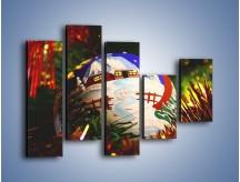 Obraz na płótnie – Bombka ręcznie malowana – pięcioczęściowy O168W4