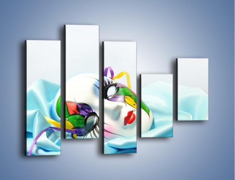 Obraz na płótnie – Kolorowa maska na błękicie – pięcioczęściowy O180W4