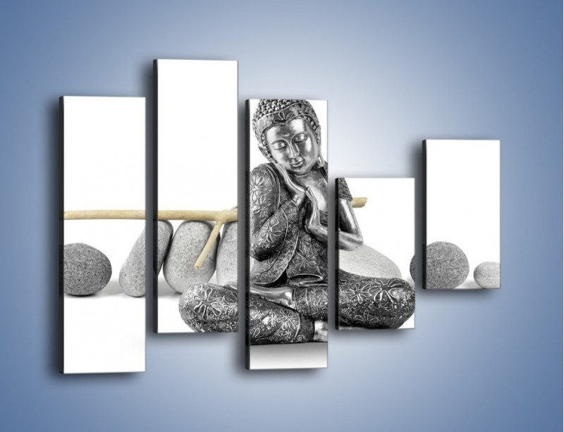 Obraz na płótnie – Budda wśród szarości – pięcioczęściowy O220W4