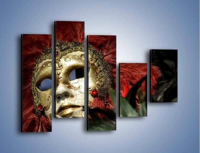 Obraz na płótnie – Maska pełna tajemnicy – pięcioczęściowy O252W4
