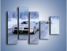 Obraz na płótnie – Bugatti Veyron w śniegu – pięcioczęściowy TM134W4