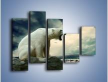 Obraz na płótnie – Donośny krzyk polarnego niedźwiedzia – pięcioczęściowy Z114W4