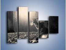 Obraz na płótnie – Jeleń w sepii – pięcioczęściowy Z250W4