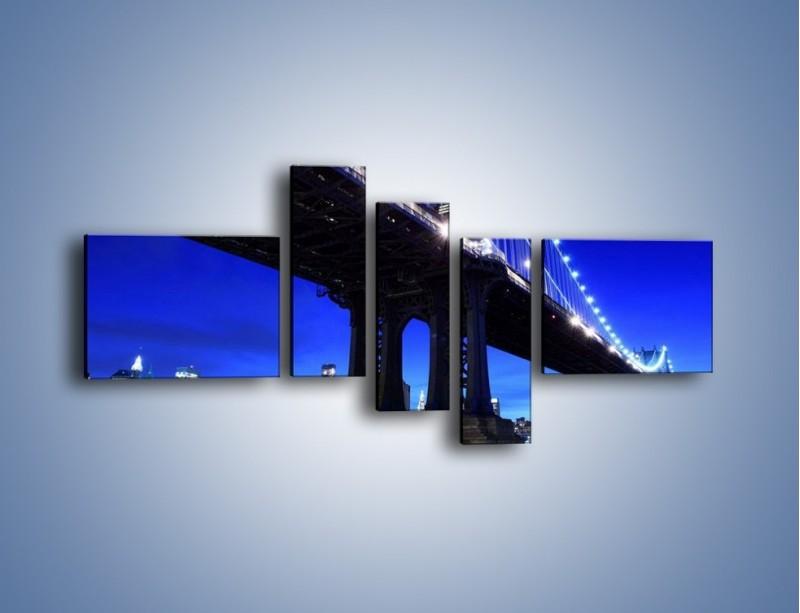 Obraz na płótnie – Oświetlony most wieczorem – pięcioczęściowy AM003W5