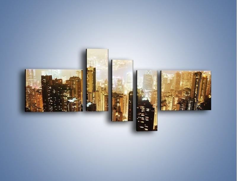 Obraz na płótnie – Miasto widziane z góry – pięcioczęściowy AM007W5