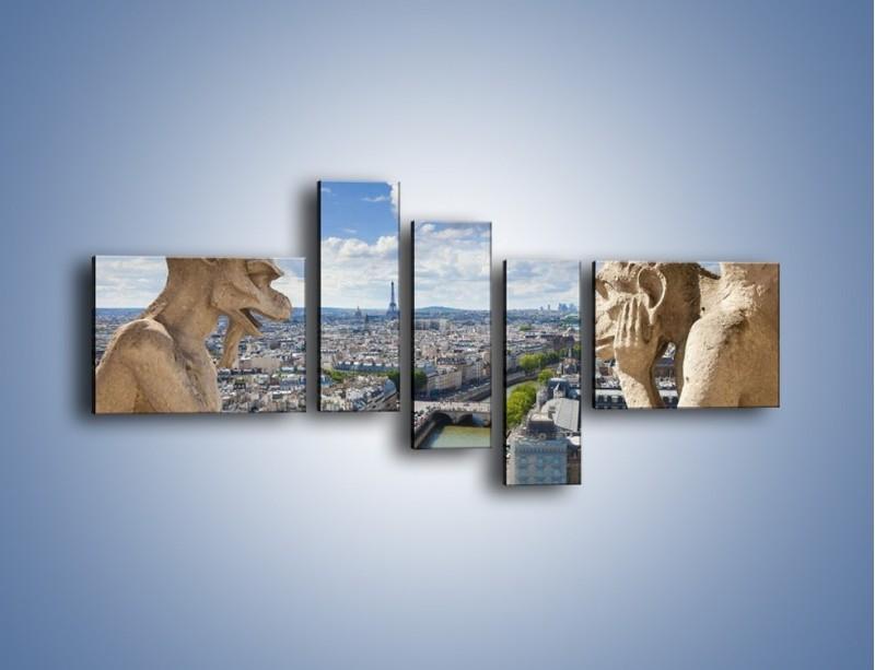 Obraz na płótnie – Kamienne gargulce nad Paryżem – pięcioczęściowy AM037W5