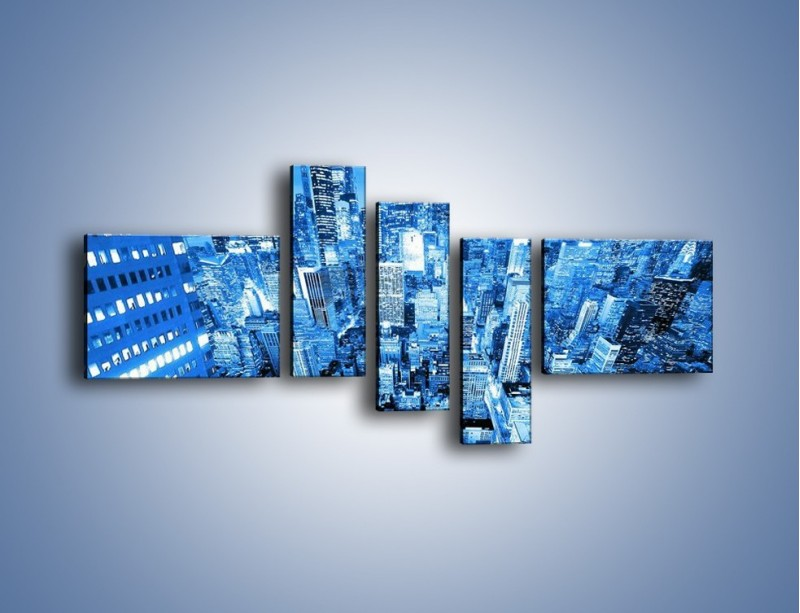 Obraz na płótnie – Centrum miasta w niebieskich kolorach – pięcioczęściowy AM042W5
