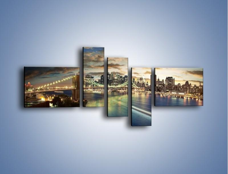 Obraz na płótnie – Oświetlony most w Nowym Jorku – pięcioczęściowy AM066W5