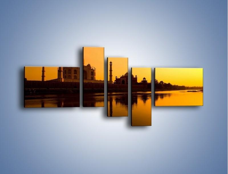 Obraz na płótnie – Taj Mahal o zachodzie słońca – pięcioczęściowy AM075W5