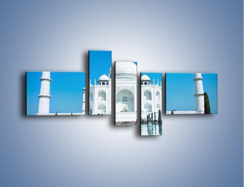 Obraz na płótnie – Taj Mahal pod błękitnym niebem – pięcioczęściowy AM077W5