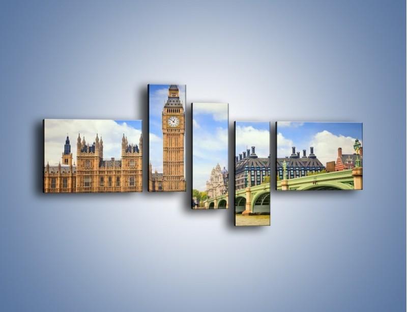 Obraz na płótnie – Big Ben w pochmurny dzień – pięcioczęściowy AM095W5
