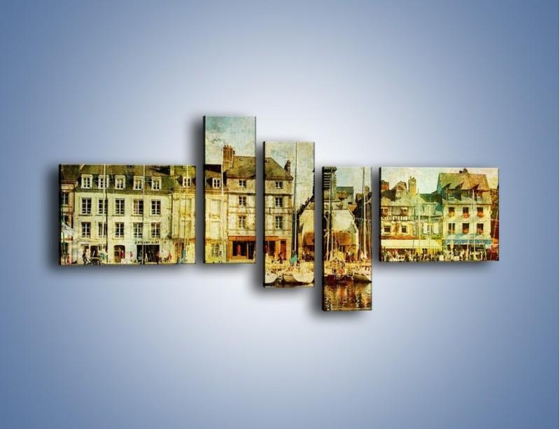 Obraz na płótnie – Łódki nad brzegiem miasteczka w stylu vintage – pięcioczęściowy AM108W5