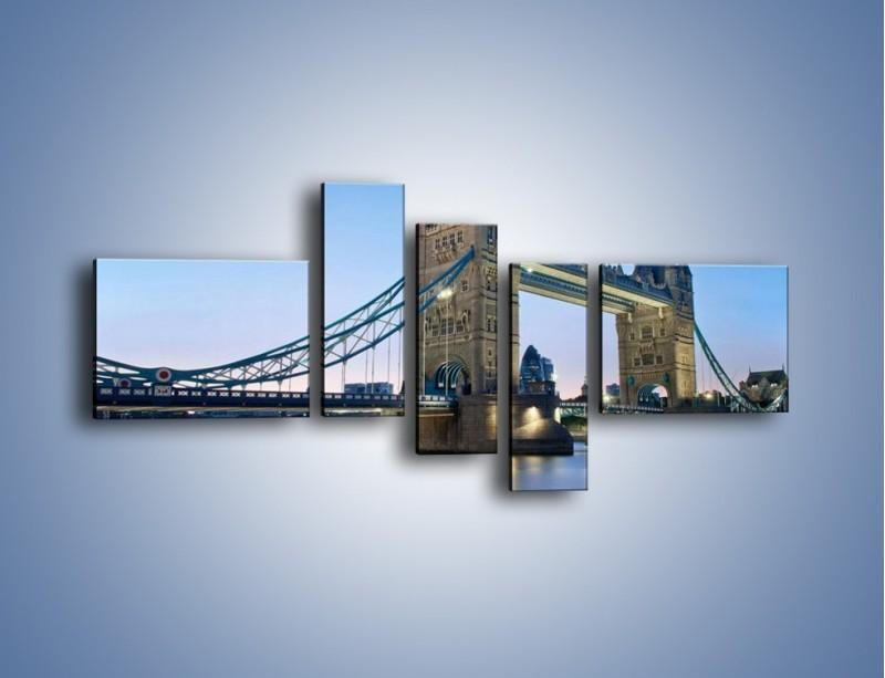 Obraz na płótnie – Tower Bridge o poranku – pięcioczęściowy AM143W5