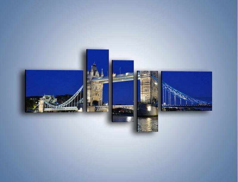 Obraz na płótnie – Tower Bridge nocą – pięcioczęściowy AM145W5