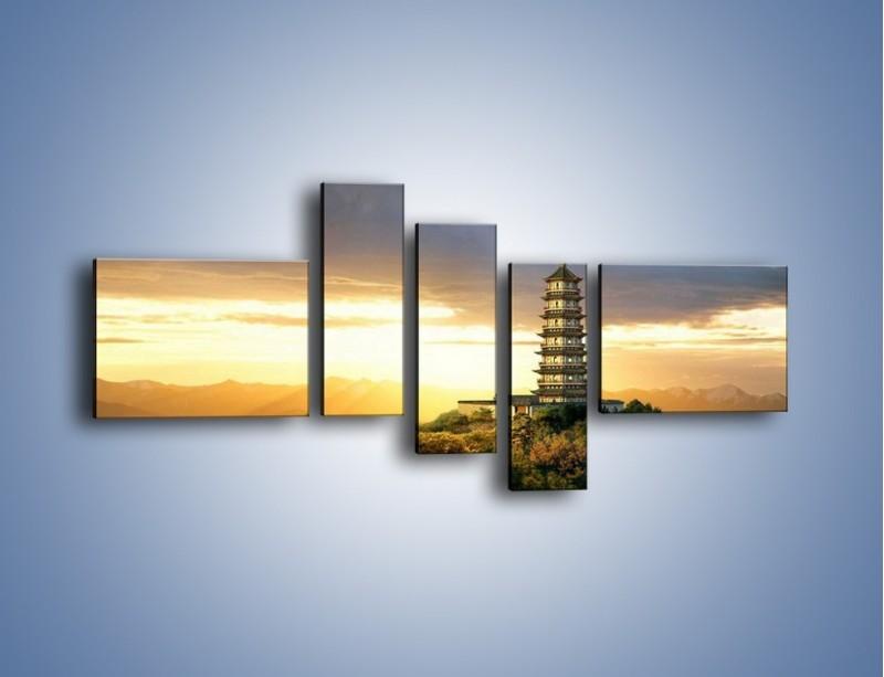 Obraz na płótnie – Azjatycka architektura o poranku – pięcioczęściowy AM151W5