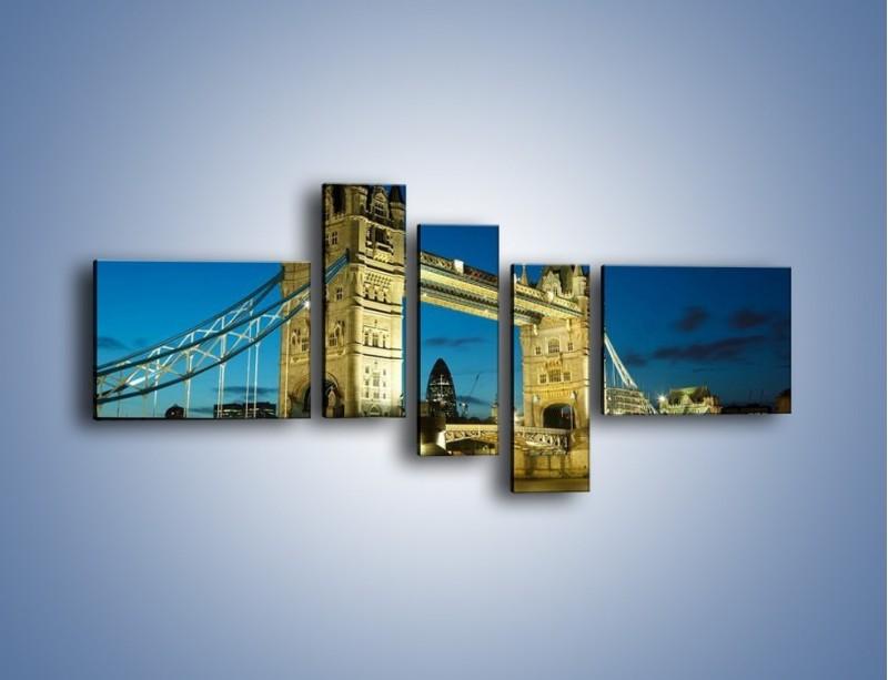 Obraz na płótnie – Tower Bridge wieczorową porą – pięcioczęściowy AM159W5