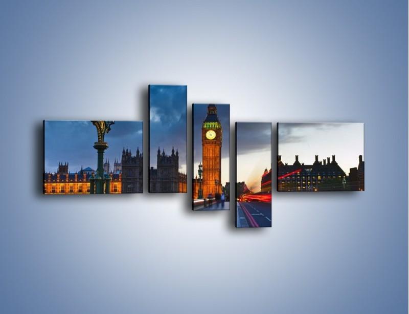 Obraz na płótnie – Big Ben świetle lamp – pięcioczęściowy AM166W5