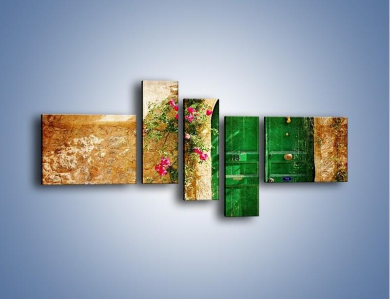 Obraz na płótnie – Drzwi w greckim domu vintage – pięcioczęściowy AM192W5