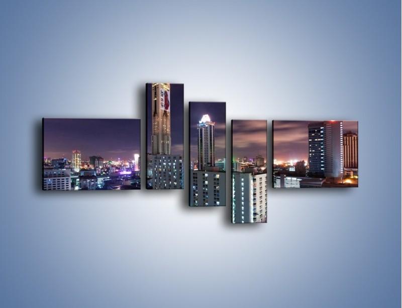 Obraz na płótnie – Duże miasto nocą – pięcioczęściowy AM202W5