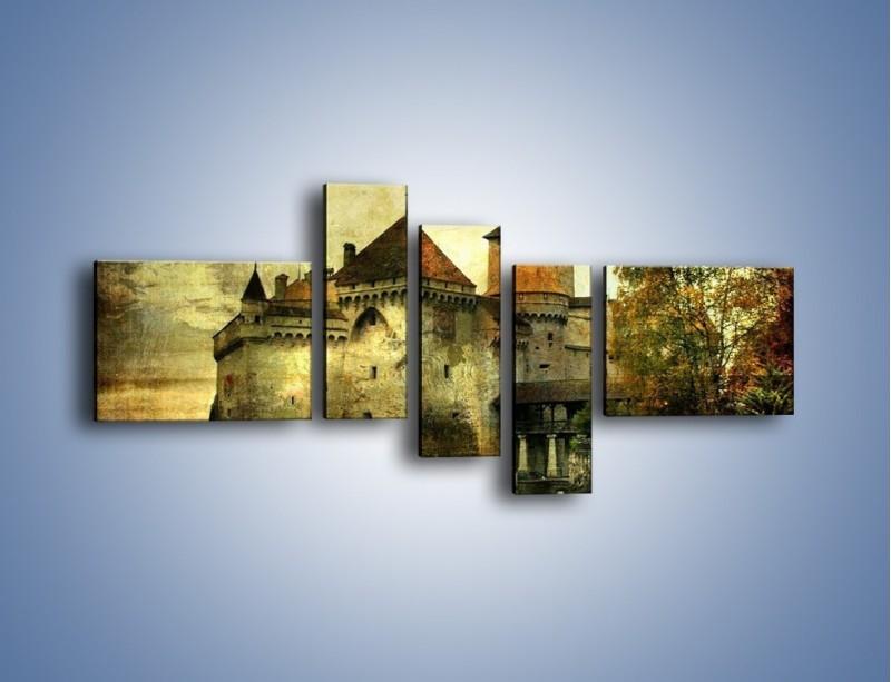 Obraz na płótnie – Średniowieczny zamek w stylu vintage – pięcioczęściowy AM233W5