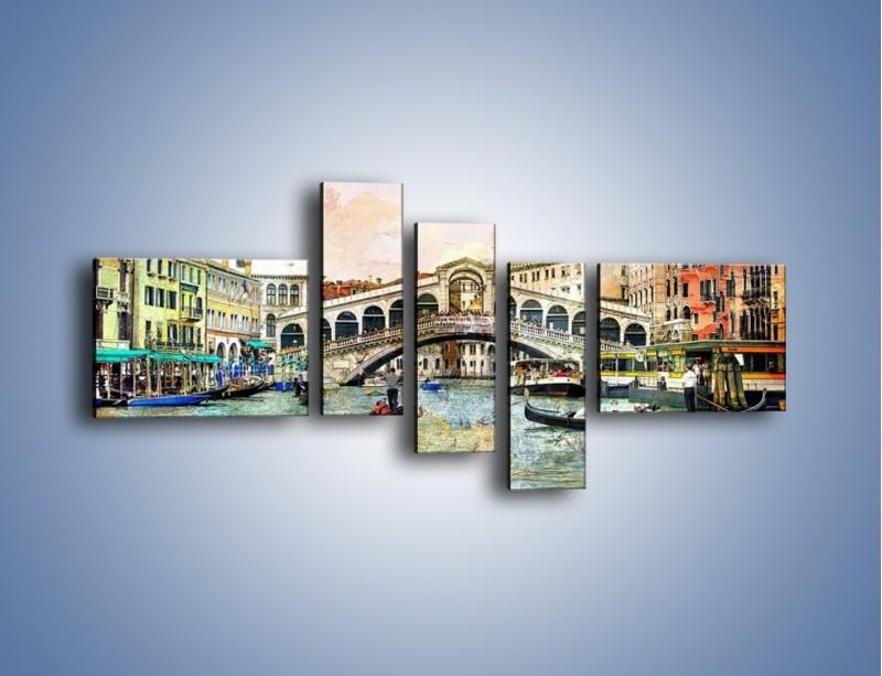 Obraz na płótnie – Wenecja w stylu vintage – pięcioczęściowy AM239W5