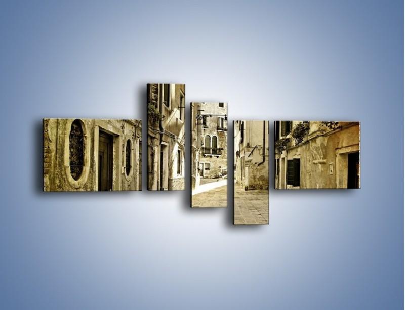 Obraz na płótnie – Stara uliczka w stylu vintage – pięcioczęściowy AM243W5