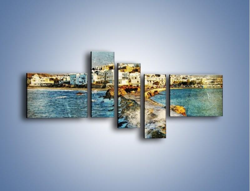 Obraz na płótnie – Grecka dróżka przez wodę vintage – pięcioczęściowy AM268W5