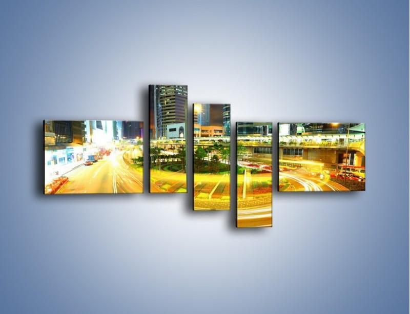 Obraz na płótnie – Światła samochodów w ruchu – pięcioczęściowy AM280W5