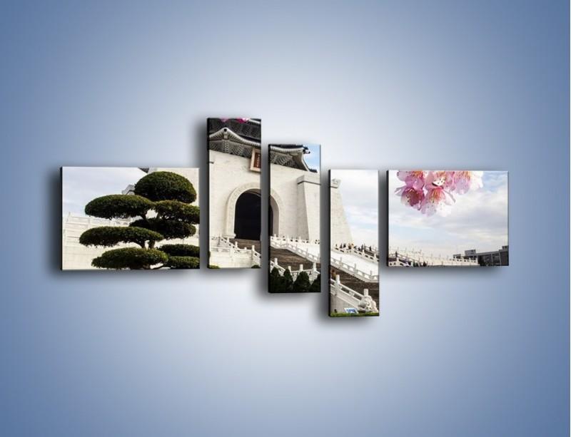 Obraz na płótnie – Azjatycka architektura – pięcioczęściowy AM299W5