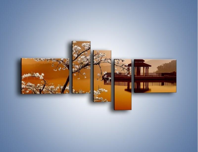 Obraz na płótnie – Kwiaty na tle Sun Moon Lake – pięcioczęściowy AM301W5