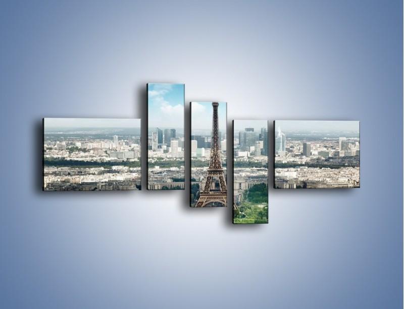 Obraz na płótnie – Chmury nad Wieżą Eiffla – pięcioczęściowy AM302W5