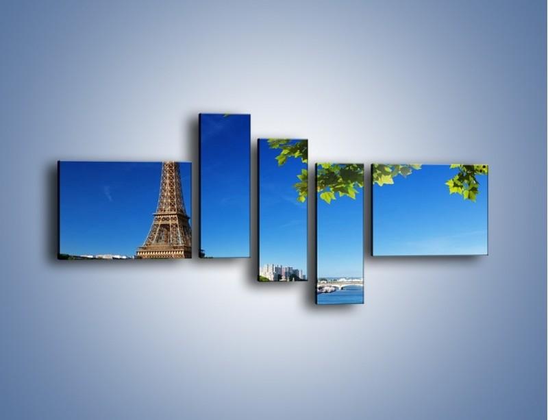 Obraz na płótnie – Wieża Eiffla w piękny dzień – pięcioczęściowy AM304W5