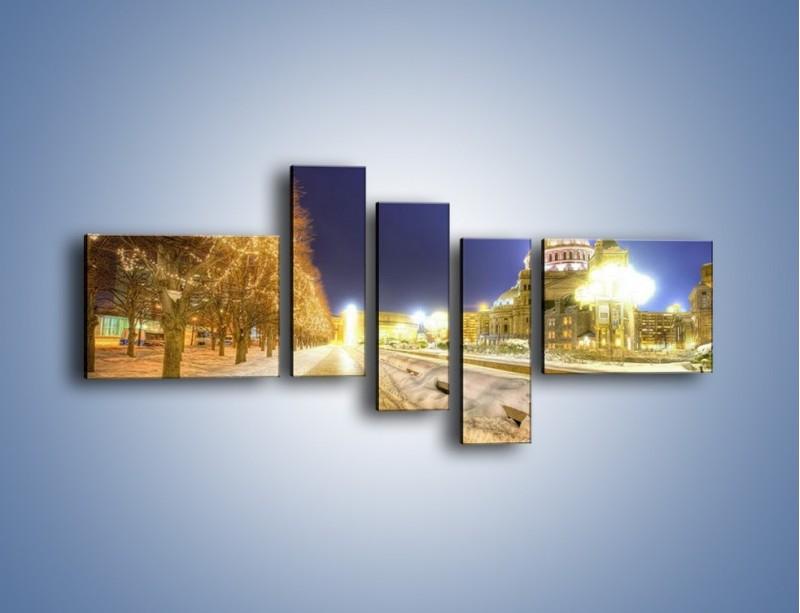 Obraz na płótnie – Zaśnieżona aleja bostońska – pięcioczęściowy AM317W5