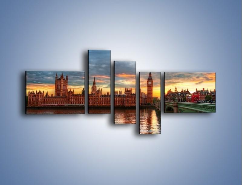 Obraz na płótnie – Pałac Westmnisterski i Big Ben – pięcioczęściowy AM321W5