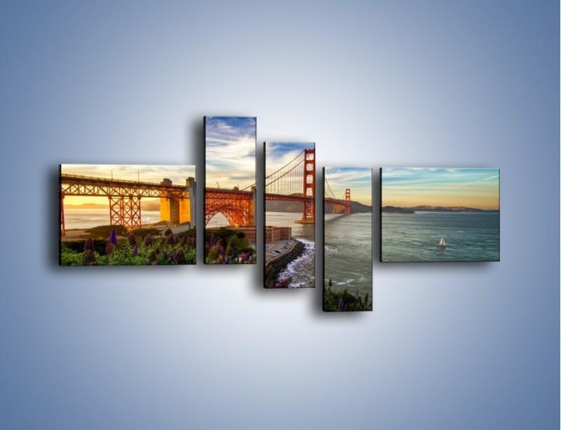 Obraz na płótnie – Most Golden Gate o zachodzie słońca – pięcioczęściowy AM332W5