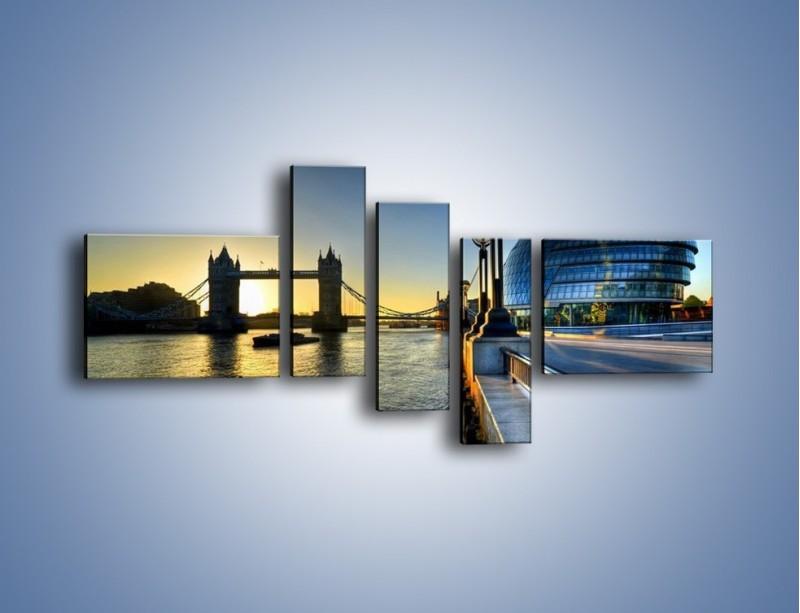 Obraz na płótnie – Londyński Tower Bridge – pięcioczęściowy AM348W5