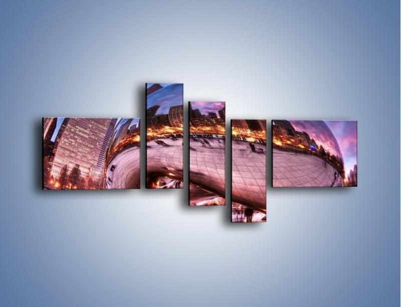 Obraz na płótnie – Cloud Gate w Chicago – pięcioczęściowy AM352W5