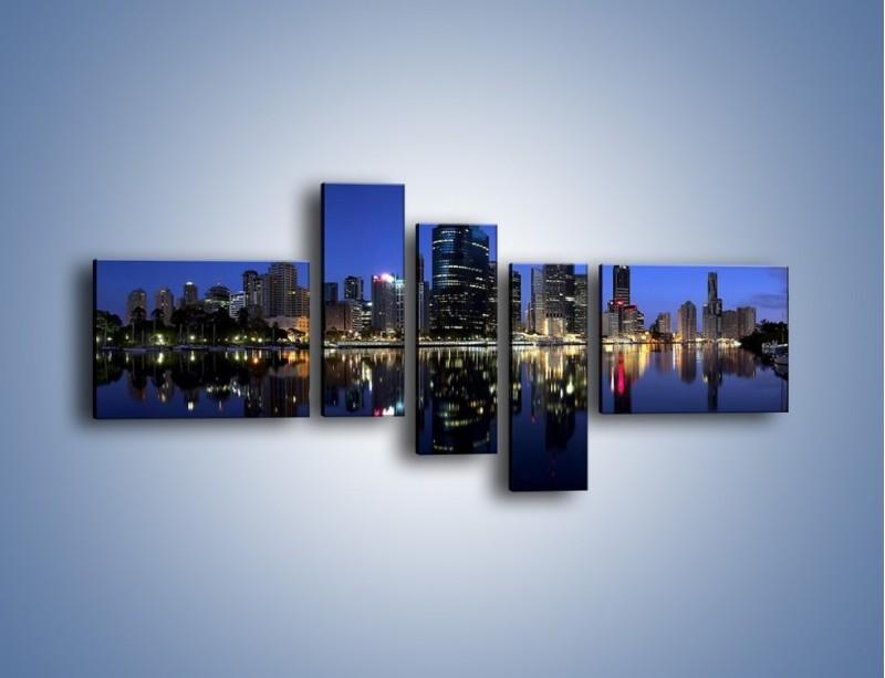 Obraz na płótnie – Brisbane w Australii nocą – pięcioczęściowy AM354W5