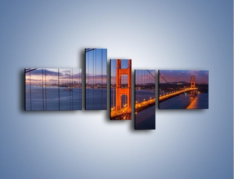 Obraz na płótnie – Rozświetlony most Golden Gate – pięcioczęściowy AM360W5