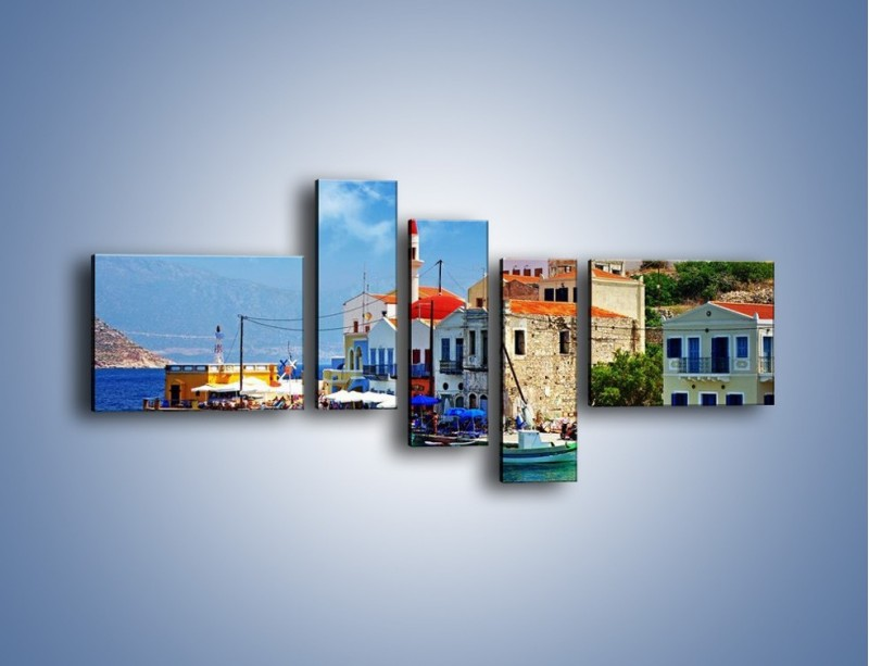 Obraz na płótnie – Kolorowe domki Santorini w Grecji – pięcioczęściowy AM364W5