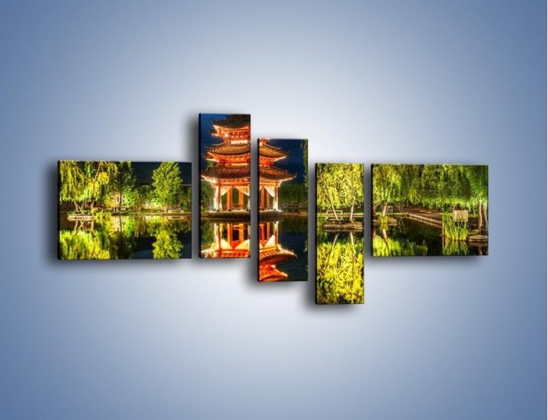 Obraz na płótnie – Urokliwy park w Chinach – pięcioczęściowy AM365W5