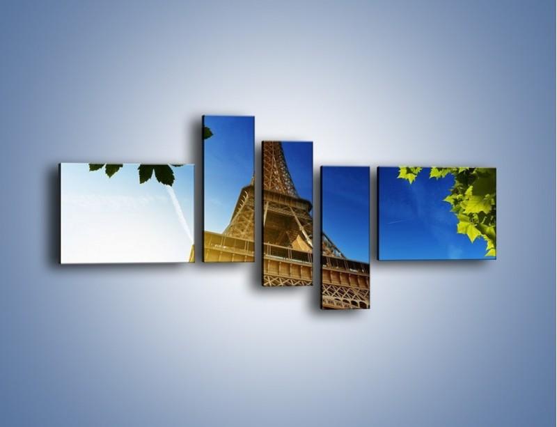 Obraz na płótnie – Wieża Eiffla w pełnej krasie – pięcioczęściowy AM372W5